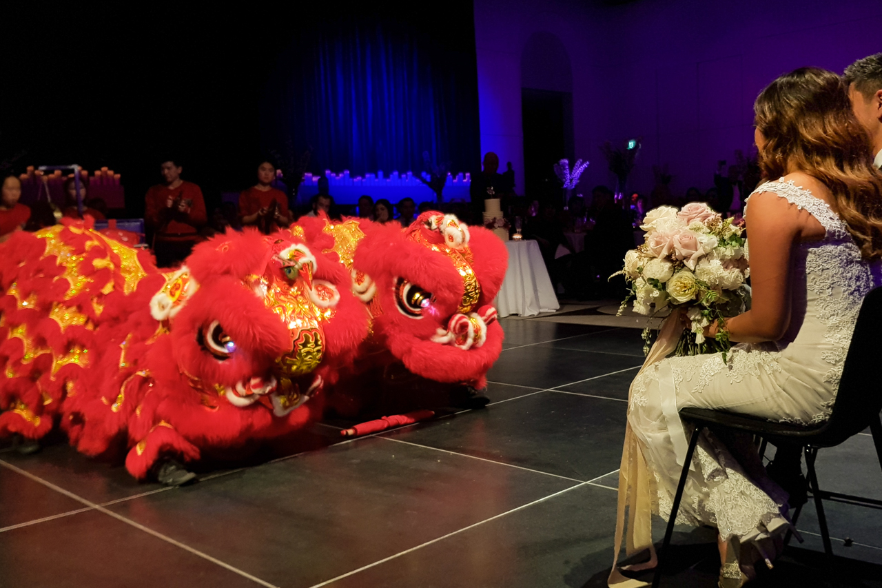 Wedding lions eating banners