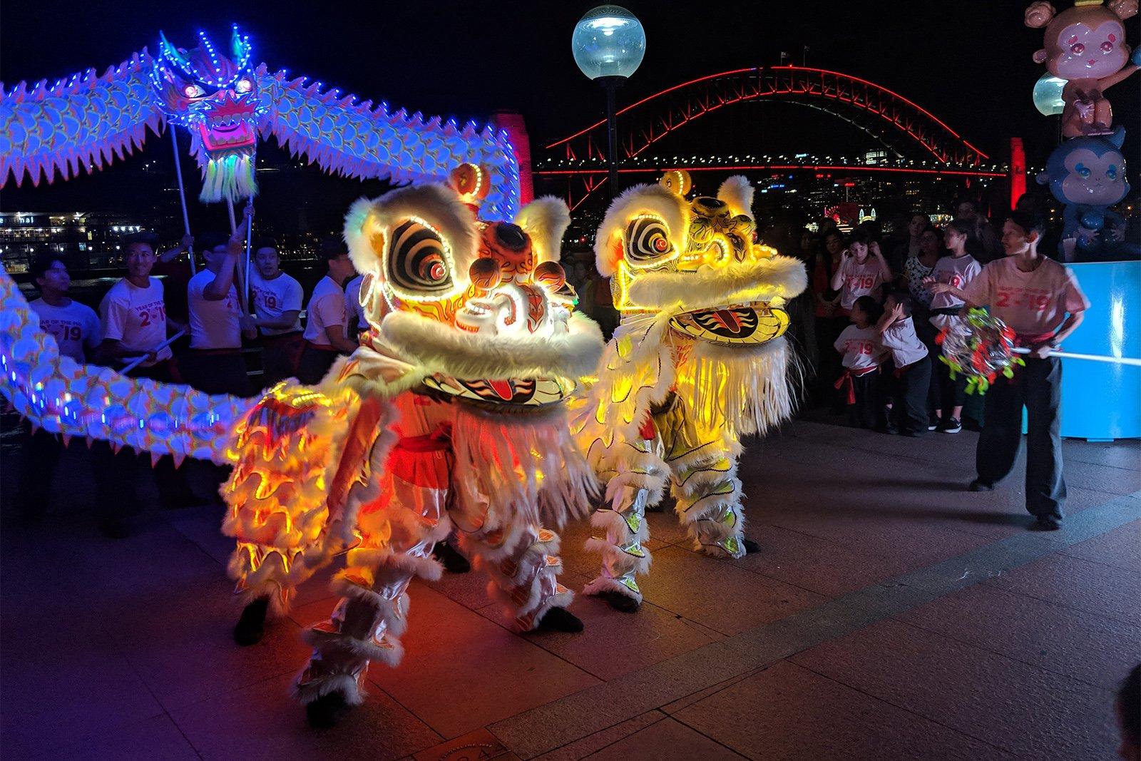 Sydney Lunar Festival LED Lion Dance Dragon Dance